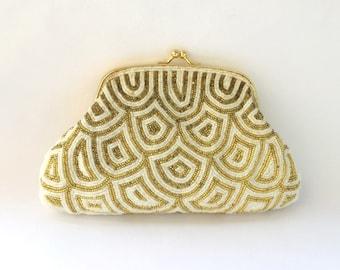 Vintage Art Deco Beaded Pattern Soft Clutch White Yellow Womens Evening Bag Small Handbag