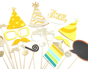 Photo Booth Props - 18PC Happy Birthday Photo Props Gold Set