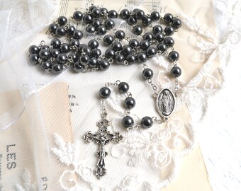 Vintage French Black Rosary Beads and Metal Cross Vintage Crucifix