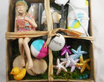 Fairy Garden Kit Beach, Miniature Summer Fairy Garden Kit, Swimsuit Fairy Figurine Gift Set w Tiny Seagull & Beachball, Birthday Gift Ideas