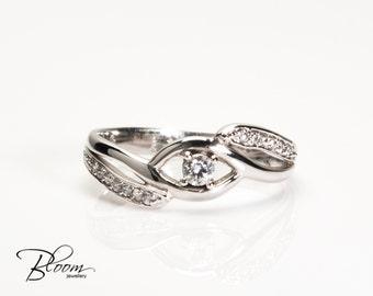 Cubic Zirconia Ring White Gold Ring 14K Gold Ring CZ Ring Solid Gold Ring Delicate Gold Ring for Woman BloomDiamonds