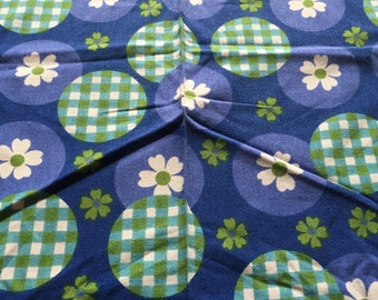 Tablecloth 1960s blue green bold print
