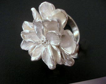 Flower handcrafted sterling silver ring. Large flower statement ring. Nature inspired sterling silver ring