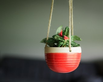 CERAMIC HANGING PLANTER // Mother's Day gift - handmade hanging planter - succulent planter- air plant holder - hostess gif t- poppy red