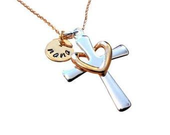 Cross necklace for women, Christmas gift, cross,  grandma necklace, nana necklace, mom, necklace, wife gift, girlfriend gift, Nana, grandma