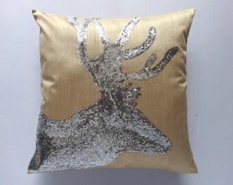 30 % discount. Sequin deer head pillow-Gold & Silver-18 inch  custom made.