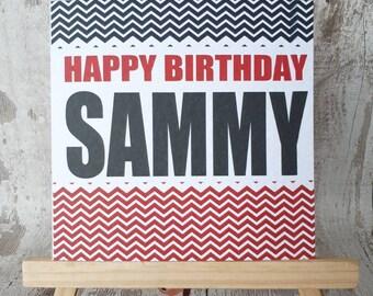 Birthday, Happy birthday, celebration, chevrons, name, personalised, greeting card, Birthday card