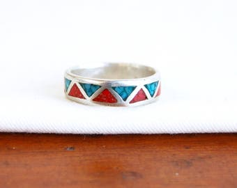 Chevron Midi Ring Turquoise Red Coral Band Size 5 .5 Vintage New Old Stock Red Blue Triangle Jewelry