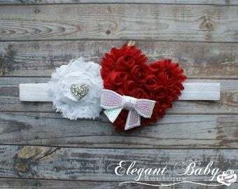 Valentines Day Headband, Heart Headband, Red and White Headband, baby, girl, adult, photo prop,