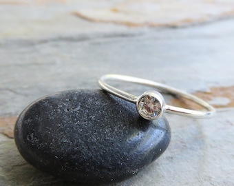 3mm Tiny Moissanite Ring, Solid 14k Gold Solitaire Ring in Choice of Shiny or Matte White, Yellow, or Rose Gold, Ethical Diamond Alternative