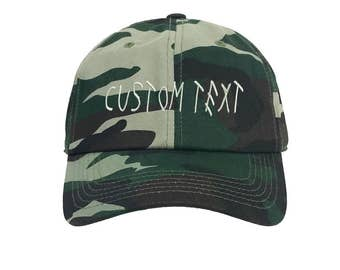 Custom Dad Hat Embroidered, DRIZZY FONT, Champagne Papi, Your text Here Personalized Custom Baseball Cap, Choose Your Text, Camo Green