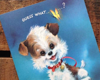 Vintage Cute Puppy Glitter Card - Unused - Birthday