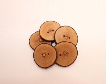 Set of 5 maple wooden buttons | 0.8 - 1.2 "