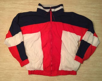 90s Windbreaker. Vintage Windbreaker. Retro Windbreaker. Track Jacket. Blue Windbreaker. Red Windbreaker. White Windbreaker. Retro USA.