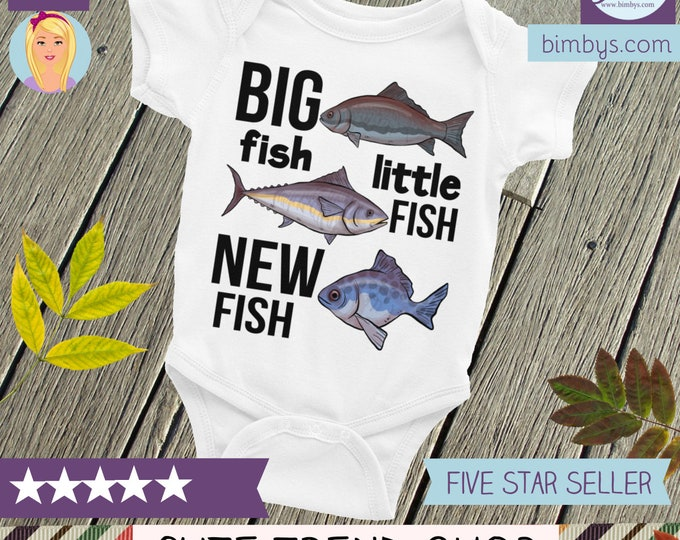 Fishing Baby Onsie® - Cute Baby Onepiece - Big Fish Little Fish NEW Fish, Fishing Buddy Baby clothes, Fishing Baby Onesie, Fishing onesie