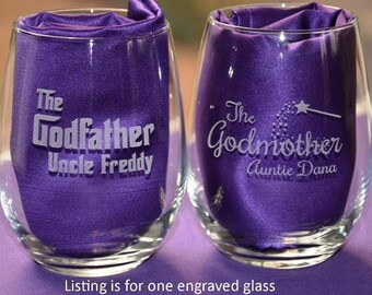 Custom Engraved Godparent Glass, Baptism Gifts, Godmother/Godfather Present, Will You Be My Godparent Christening Gifts #10