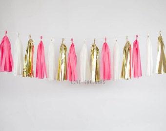 Ivory, Gold, Hot Pink Tassel Garland, Hot Pink Gold Tassel Garland, Hot Pink Garland, Hot Pink Gold Bridal Shower, Hot Pink Gold Baby Shower