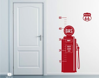Nursery Vintage Gas Pump Growth Chart - Vinyl Wall Decals Stickers Art Graphics Custom Home Decor