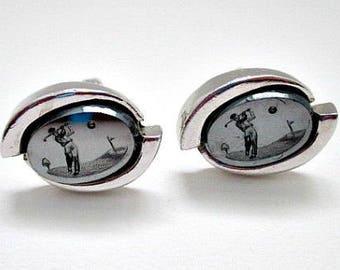 Golfer Golf Cuff Links Cufflinks - Vintage Golf Cuff Links - Golfer Golf Gift