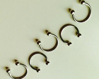 Circular Barbell | Horseshoe | Horse Shoe | Silver Coloured | Septum | Ear | Piercing | Body Jewellery