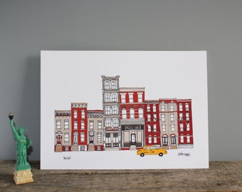 New York Print A4 - New York Skyline -  Illustration Print - New York Architecture - Engagement Gift - New York Gift