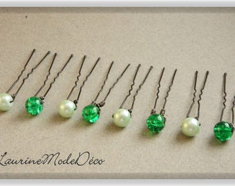 Glass Pearl and green Crackle glass beads 8 hair pins