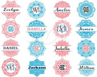 Mandala svg - Mandala Monogram svg - Mandala Monogram digital clipart,Flower Frame svg, Flower Mandala svg, dxf, ai, eps, png,