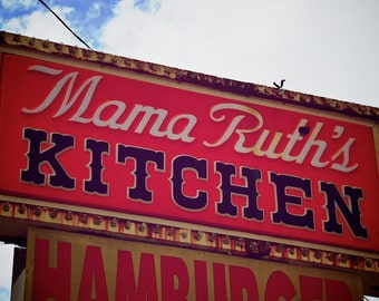 Old Restaurant Sign, Industrial Decor, Mama Ruth's Kitchen Sign, Cottage Chic Art, Urban Home Decor