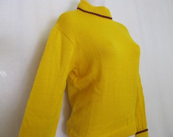 1960s Varsity Sweater Hip Hop Cheerleader Sweater Kandel Mustard Yellow