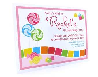 Candyland Theme Invitations, Candy Theme, Candy Party, Candy Land Invitations, Lollipop, Birthday Invitations, 12 invitations with envelopes