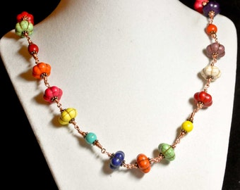 Multicolored Bright Melon and Copper Necklace - Turquoise Pink Orange Lime Green Blue Navy Yellow Red White Brown