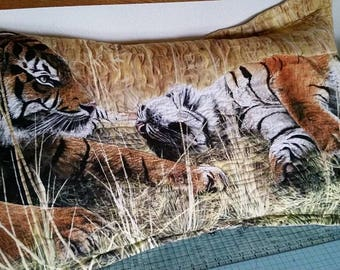 Pillow Sham, Quilted Sham, Gift For Him, XL King Quilted Pillow, Tiger Pillow Sham,Pillow Sham for Sale,  Finished XL King Sham,
