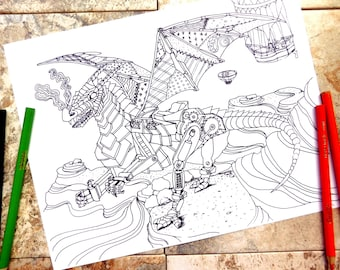 steampunk, coloring page, coloring pages, flying dragon, dragon, chinese, new, year, adult, mechanical, balloons, wings