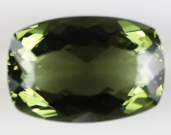 Moldavite 8.29cts Cushion Cut 15.80 x 10.90mm H5.5-6 g20295 Green Loose Gem Collectible Gemstone Gemology Collection Rare Gemological Hobby