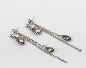 2 in 1 earrings, Swarovski Crystal, stainless steel
