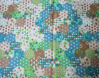 Fabric 100% cotton brand Dapper patchwork geometric effect, blue, green, ecru linen