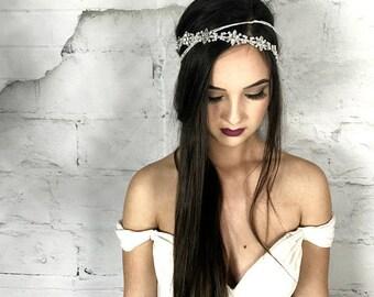 Modern Bridal Headband, Crystal Halo, Wedding Hair Accessories, Prom Headpiece, Boho Hair Jewelry
