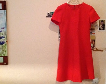 70s Dress Red Shift Dress A Line Knee Length Short Sleeve Medium
