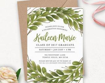 College Graduation Invitation Template / Greenery Invitation / Graduation Announcement / Graduation Party Invitations Printable