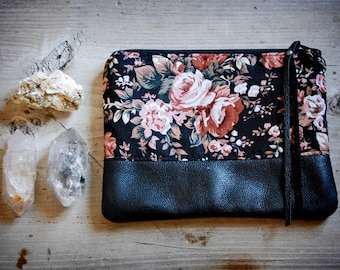 Blossom Pouch - floral fabric and black leather