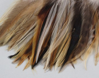 Feathers strung Saddle Badger  premium PS-06   Natural craft feathers