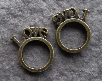 2 Bronze Metal Love Rings