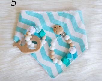 3 piece teething set/ bandana bib/ dummy clip/ teether/ silicone beads