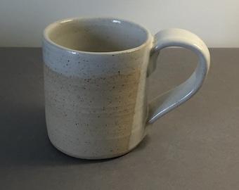 Ceramic handmade mug, white glaze on flecked Stoneware ceramic
