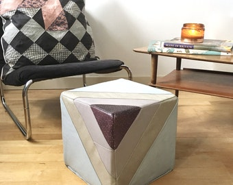 Leather Footstool   Quilted Leather Pouf Pouffe in Muted Tones   Ottoman   Eco Friendly Cube Furniture  Handmade Footstool Housewarming Gift