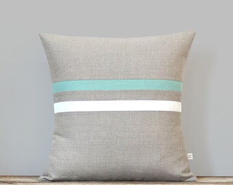 Striped Linen Pillow Cover - Aqua, Cream and Natural (16x16 or 12x20) Spring Home Decor by JillianReneDecor - Spring, Beach House, Lumbar