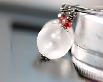White Frosted Earrings, Lucite Earrings, Winter Earrings, Long Dangle Earrings, Cranberry Glass Gems on Gunmetal - Ice Lantern