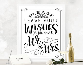 Wishes for Mr & Mrs Wedding Guestbook Poster - INSTANT DOWNLOAD - Printable Wedding Art Sign, Table Sign, Guest Book, Bridal, Reception