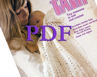 PDF - Baby Talk - Tiny treasures to knit and crochet - 1973 - Cape, jacket, beret, hat, booties, afghan