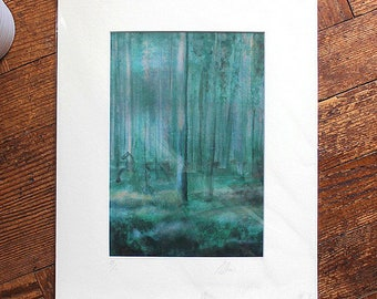 Forest Print, Nature Print, Watercolour Painting, Landscape Art, Forest Wall Art, Contemporary Art, Green, Illustration, Woodland, Horse